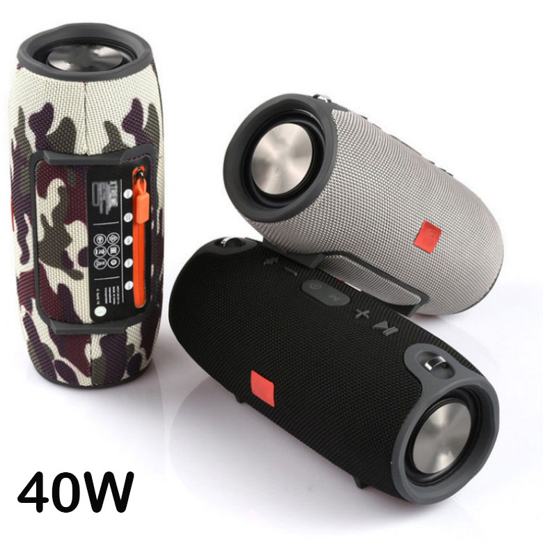 High Power 40W Bluetooth Speaker Waterproof Portable Column Super Bass Stereo For Comuter PC Speakers With FM Radio BT AUX TF