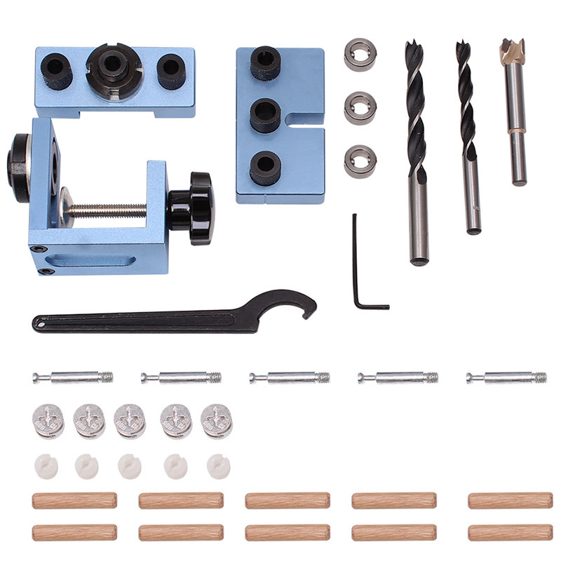 3 In 1 Drilling Locator Drilling Guide Kit Tenon Hole Puncher Woodworking Tools For Furniture Fast Connecting Cam Fitting