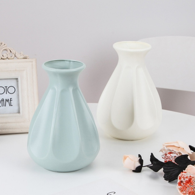Nordic Origami Plastic Vase Imitation White Ceramic Flower Pot Flower Basket Flower Vase Decoration Home Desktop Decoration 6