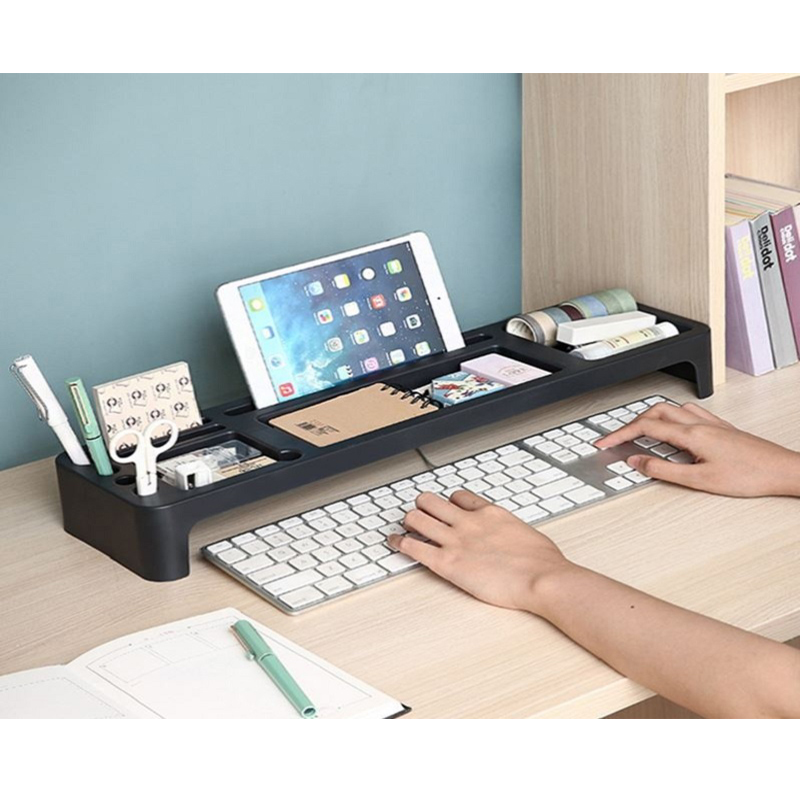 multifuncional desk tidy teclado caneta livros de armazenamento de artigos diversos prateleira prateleira de armazenamento prateleiras