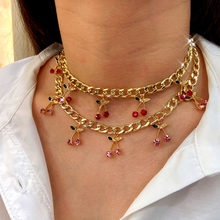 Flatfoosie Korean Cute Cherry Crystal Pendant Necklaces for Women Gold Silver Color Metal Thick Chain Necklace Fashion Jewelry