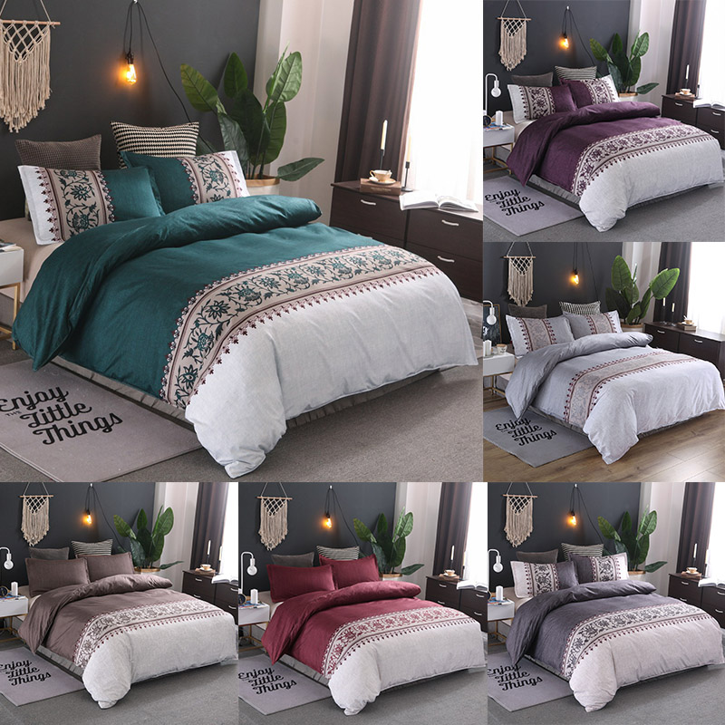 Floral Bedding Sets Simple Flower Pattern Reactive Printing Queen King Size Duvet Cover Set Pillowcases Polyester 80173
