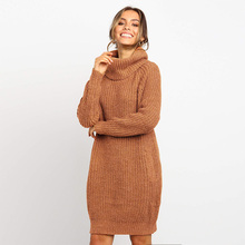 ALLNeon Turtleneck Midi Dress Pockets Knitted Pullover Sweater Dresses for Women Long Sleeve Oversized Ladies Elegant