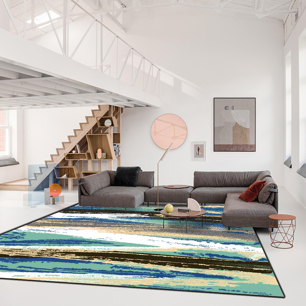 Fashion ins modern abstract art Watercolor lines bedroom living room kitchen Bedside Porch floor mat Non slip waterproof carpet in Carpet from Home Garden