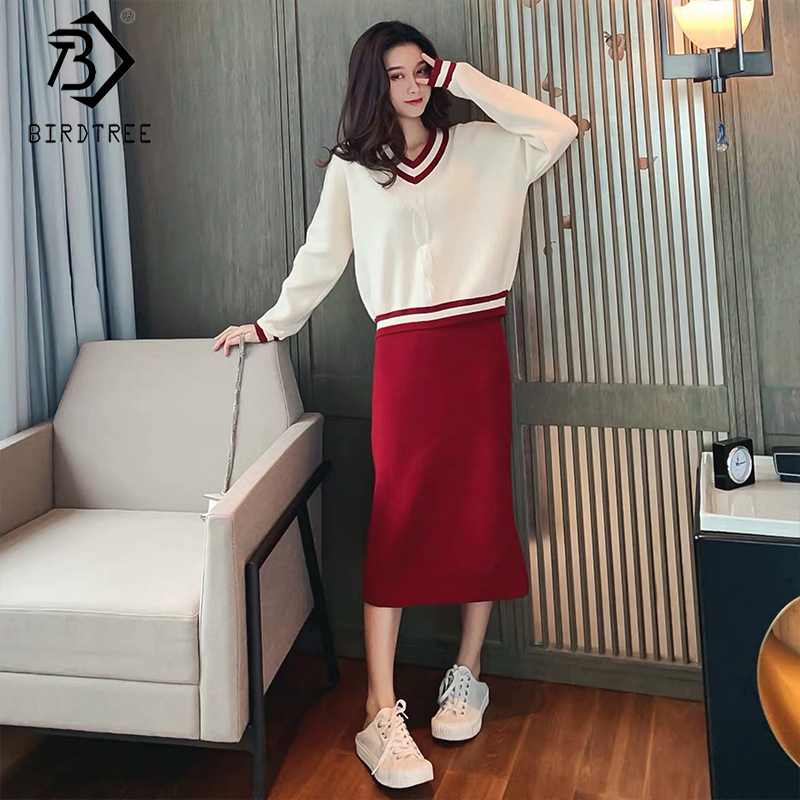 2019 Autumn New Women's Fashion Suits Two Pieces Set Pullovers Knitted Tops Full Sleeve V-Neck Casual Knitted Midi Skirt S90206K