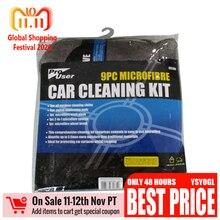 9pcs Juego herramienta de ventana vidrio auto película raspador lavado de autos Kit de limpieza Suministros Toalla de microfibra Detallado Cepillo de rueda de coche Cera Esponja Combinación de herramientas de limpieza