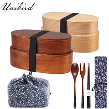 Lunch-Box Food-Container Wooden Compartment Chopsticks-Spoon Sushi Janpenese Kids New