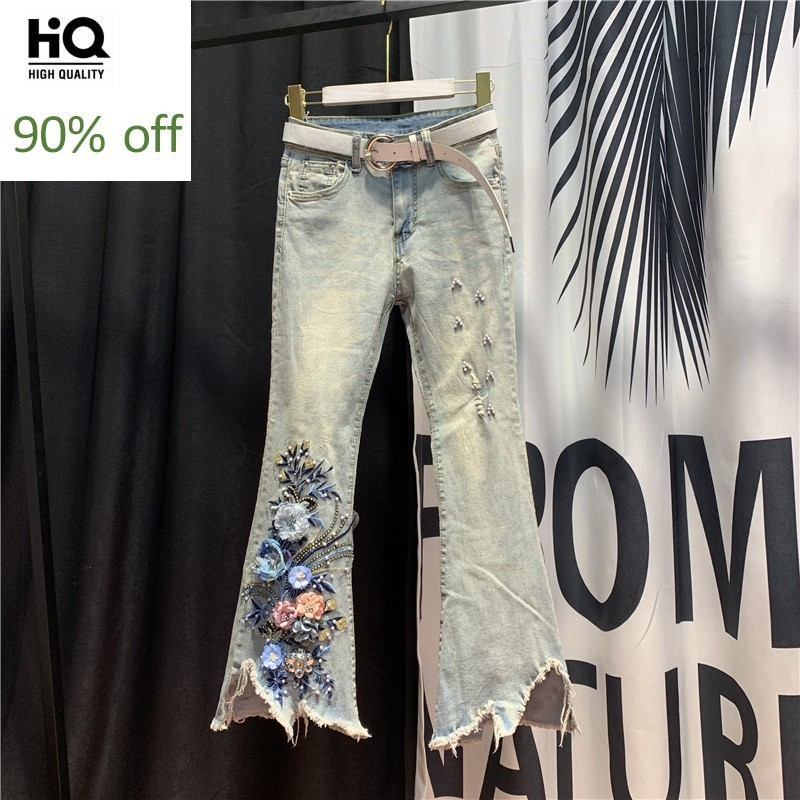 Fashion Chic Flare Jeans Woman Spring Summer High Waist Beading Embroidery Denim Ankle-Length Pants Vintage Blue Tassel Jeans