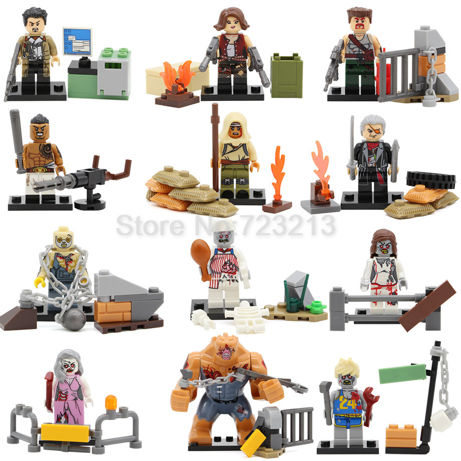 Zombie Army Single Sale Figure Biochemical Alice Walking Dead SWAT Military Building Blocks Model Kits Bricks Toys