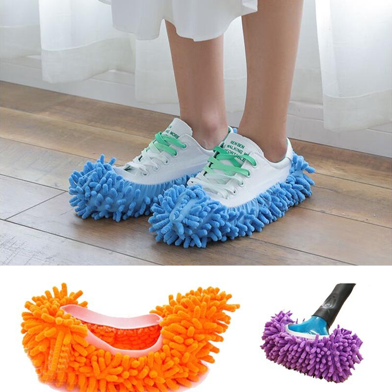 1PC Single Chenille Mop Wipe Slippers Shoes Lazy Shoe Mop Caps Set Convenient Dust Mop Slipper House Cleaner Shoes Cover Y20