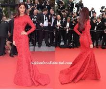 Sexy Katrina Kaif czerwony z długim rękawem syrenka koronki płaszcza suknie wieczorowe sukienka koktajlowa Cannes festiwal 2015 suknie wieczorowe CD11 tanie tanio La MaxPa STRAPLESS Trzy czwarte Kostek COTTON Celebrity Dresses Red Carpet Dresses Cannes Festival 2015 Evening Dresses