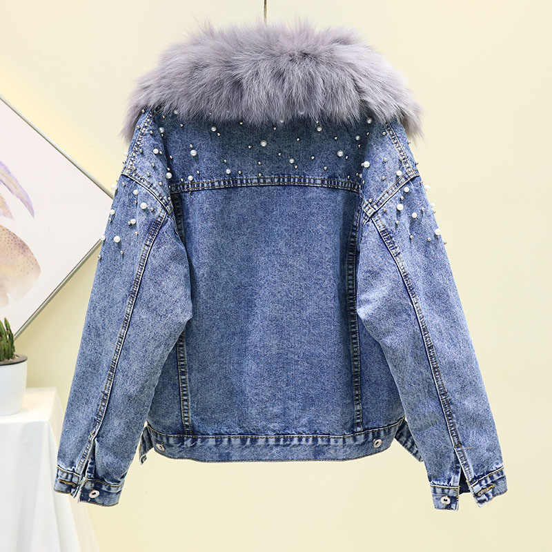 Winter Thick Warm Faux Fox Fur Collar Lambswool Lined Denim Jacket Fashion Loose Bending Short Jeans Jacket Coat Female Outwear