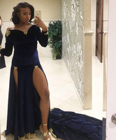 2020 Navy Blue Velvet Mermaid Prom Dresses Sexy High Leg Slit Party Gowns Long Sleeve Lace Appliques Sweep Train Evening Gowns
