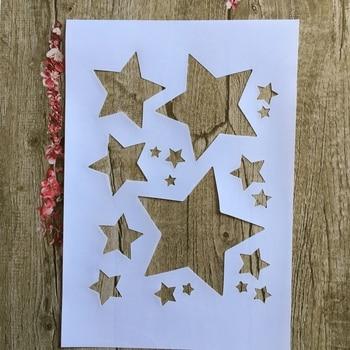 A4 29 * 21cm  Pentagram DIY Stencils Wall Painting Scrapbook Coloring Embossing Album Decorative Paper Card Template