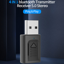 4 In1 Bluetooth 5.0 Audio récepteur émetteur multifonctionnel USB Dongle stéréo 3.5mm Aux adaptateur pour TV ordinateur voiture casque
