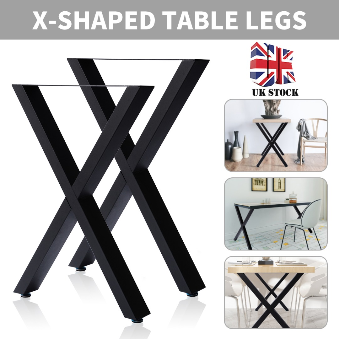 New X Shape Desk Leg Industrial Cross Table Legs For Dining Benches Office Desks 72cm X 50cm/40cm X 35cm