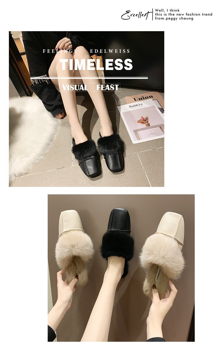 square close toe fur mules shoes flats casual rabbit hair slingback lazy slippers handmade sewing pleated leather slides female 44