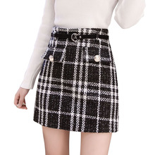 2020 nowe spódnice Tweed kobiety jesień zima przycisk krótkie obcisłe spódnice Plaid spódnice z wełny koreański wysokiej talii eleganckie spódnice Tweed tanie tanio Mikrofibra Poliester CN (pochodzenie) Osób w wieku 18-35 lat A-LINE empire Na co dzień Powyżej kolana Mini
