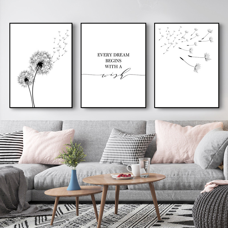 Nordic Scenery Art Poster Modern Dandelion Canvas Painting Wish Quote Picture Wall Decor Plants Wall Art Canvas Painting HD2906