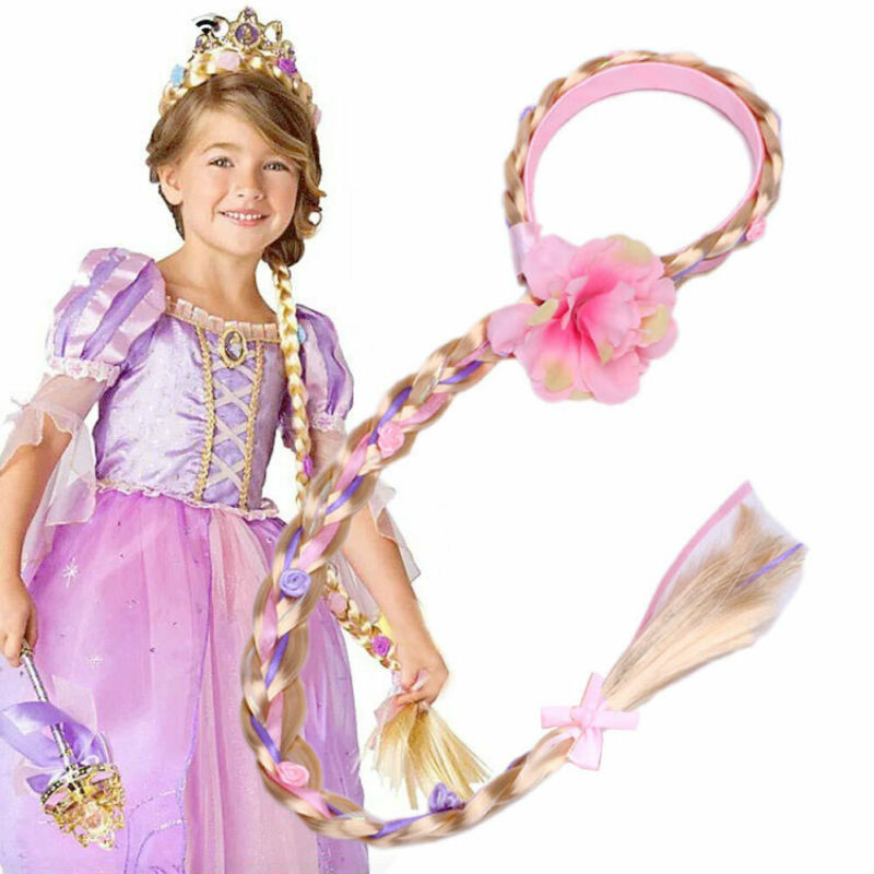 Little Girls Blonde Cosplay Weaving Braid Tangled Rapunzel Princess Headband Hair Accesorries Girl Wig