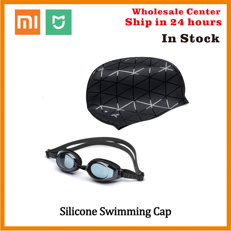 In Stock Xiaomi Swim Pool Hat Silicone Swimming Waterproof Goggles 3D Glasses Sports  Ears Protection Cap For Adult Men Women
