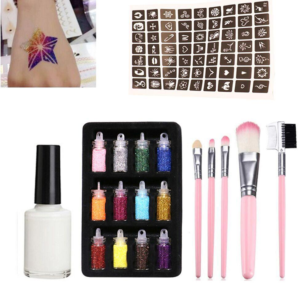 New Flash Temporary Tattoo Set With 12 Glitter Powder Hollow 1 Tattoo Template 1 Glue 5 Brushes For Children Teenagers Adults