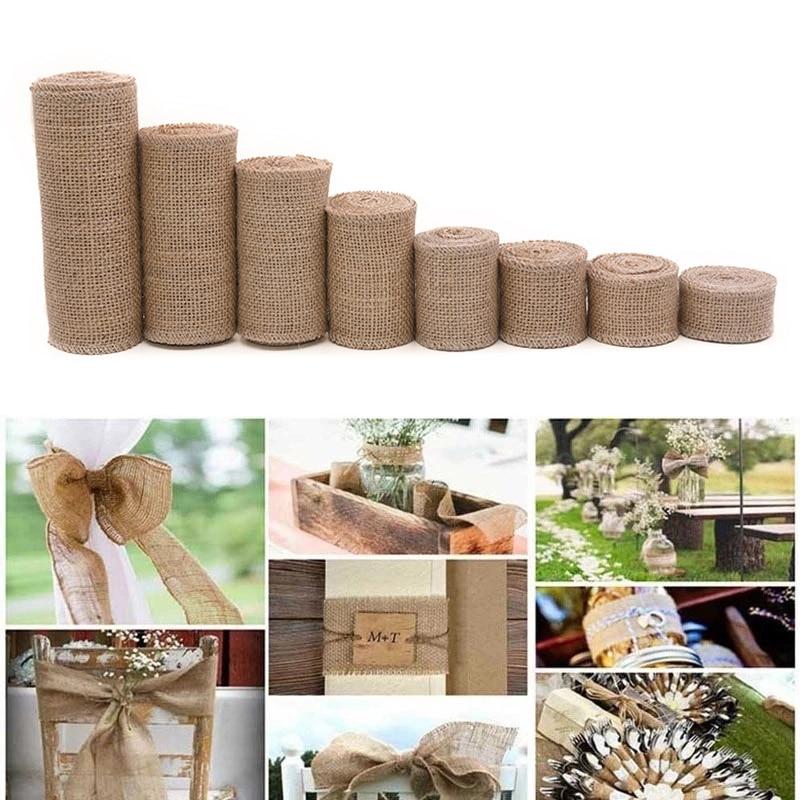 2m natural juta serapilheira hessian fita rolls decoração do casamento rústico vintage presente de aniversário embrulho para casa costura diy