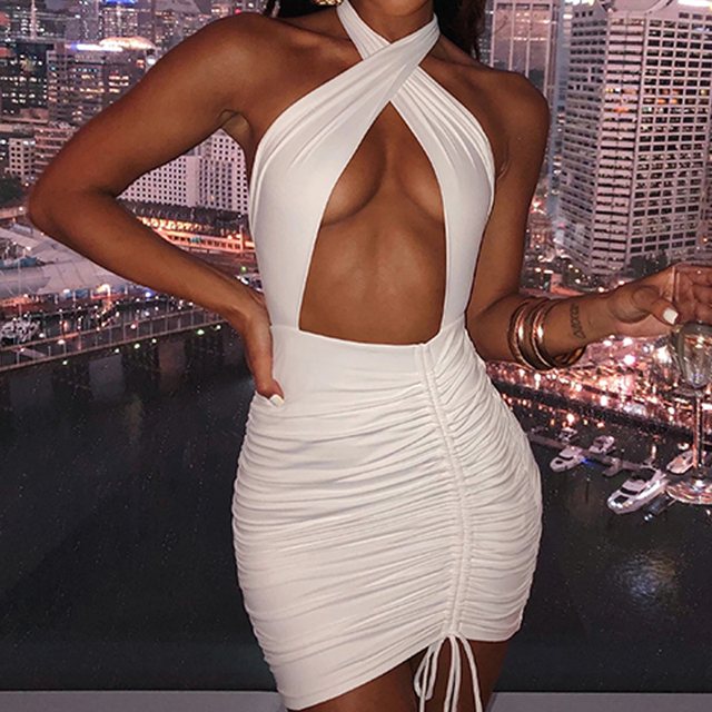 Fashionsta Sexy Criss Cross Neck With Tie Up Mini Dress Solid Hollow Out Halter Dress Party Club Dresses Summer Bodycon Vestidos 2