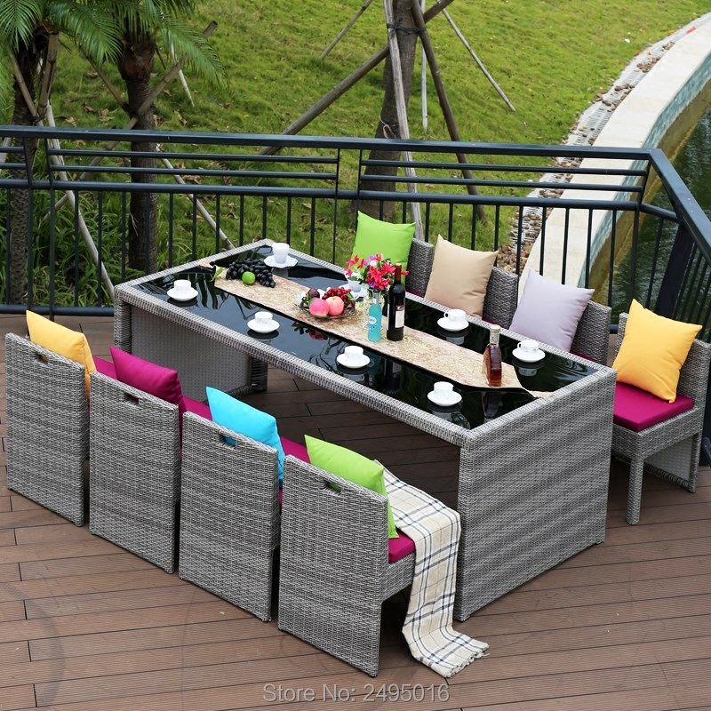 9 Pcs/set Metal Frame And PE Rattan Patio Wicker Sectional Table And Chairs With Cushions Garden Dining Sets For All Weather