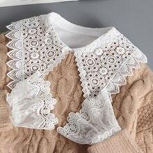 Chemise Faux Col blanc en dentelle à gros revers pour femme, Faux Col amovible et manchette, 2020