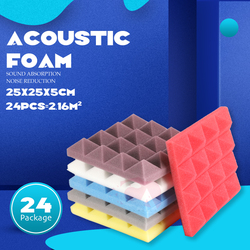 24pcs 250x250x50mm Studio Acoustic Soundproof Foam Pyramid Sound Absorption wall Treatment Panel Tile Wedge Protective Sponge