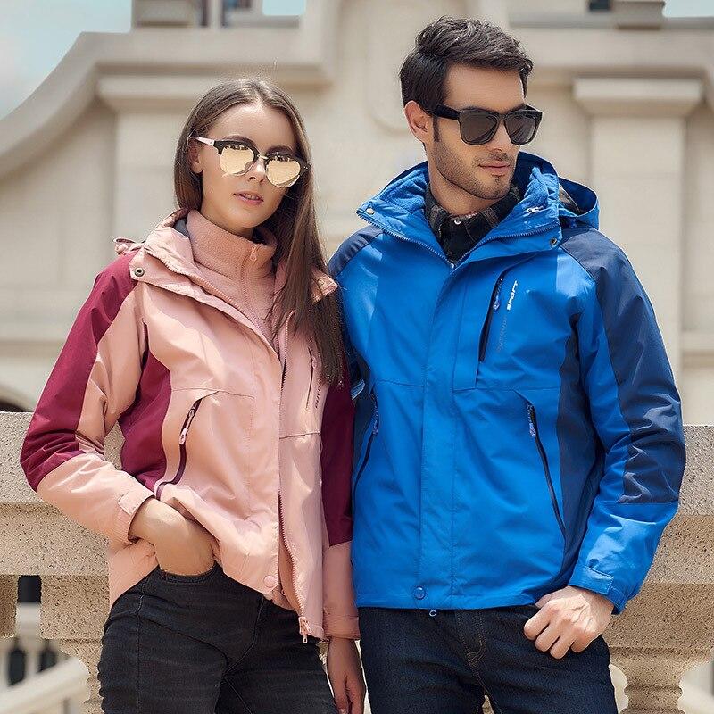 Couples Two-piece Set Waterproof Jacket Stitching Rain Jacket Men Women Softshell Jacket Men Plus Size M~7XL Regenjacke Herren
