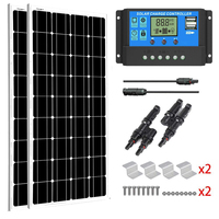 SUNGOLDPOWER 2Pcs 100W Solar Panels Complete Kit for Home RV with Solar Charge Controller Monocrystalline Solar Cell Solarpanel