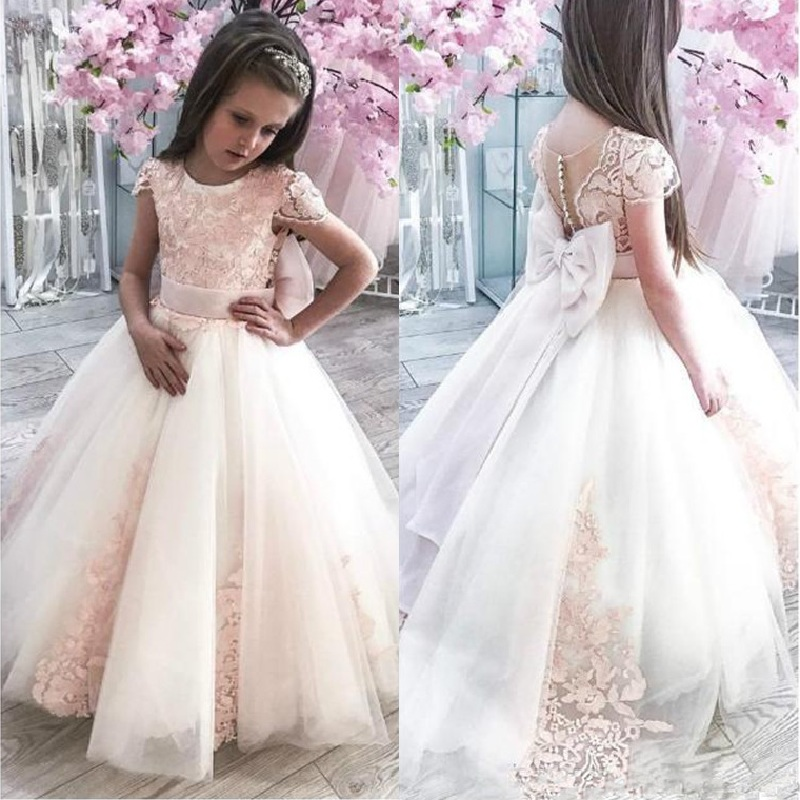 Flower Girls Dresses Cap Sleeve Little Girl Toddlers Wedding Dresses Vintage Lace Pink Child Princess Communion Pageant Gowns