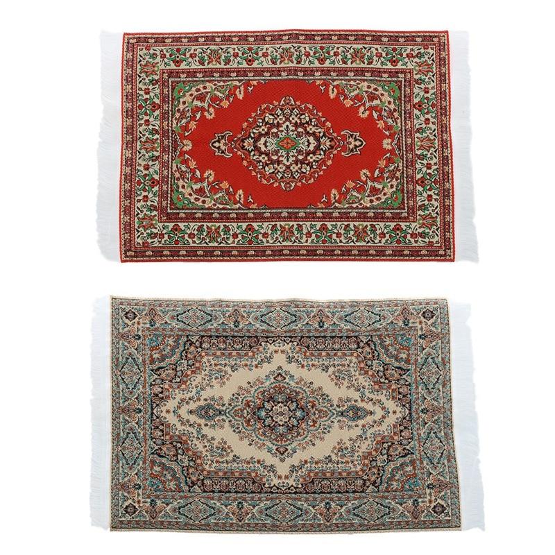 2 Pcs 1:12 Dollhouse Miniature Decorative Carpet Interior Rug Modelling, 23.5 X 14.8Cm & 24.2 X 15Cm