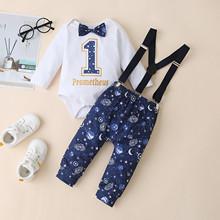 Zestawy ubrań Dla niemowląt noworodek dziewczynka chłopiec Bowtie Romper spodnie na szelkach stroje zestaw Dla Niemowlat zestaw ubrań Dla dzieci tanie tanio Poliester W wieku 0-6m 7-12m 13-24m CN (pochodzenie) Unisex Moda O-neck Swetry Pełna REGULAR Pasuje prawda na wymiar weź swój normalny rozmiar