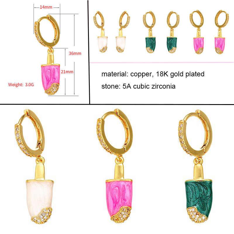 1 חתיכה קטן עגילי חישוק נשים CZ קשת תכשיטי זהב כסף Col אננס כוכב קקטוס עין רעה פיל חישוקי עגיל הודי