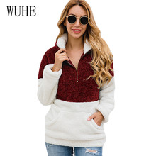 WUHE Autumn Winter Zip Pocket Lapels Blouse Plush Top Long Sleeve Hollow Out Patchwork Elegant Women Crop High Quality