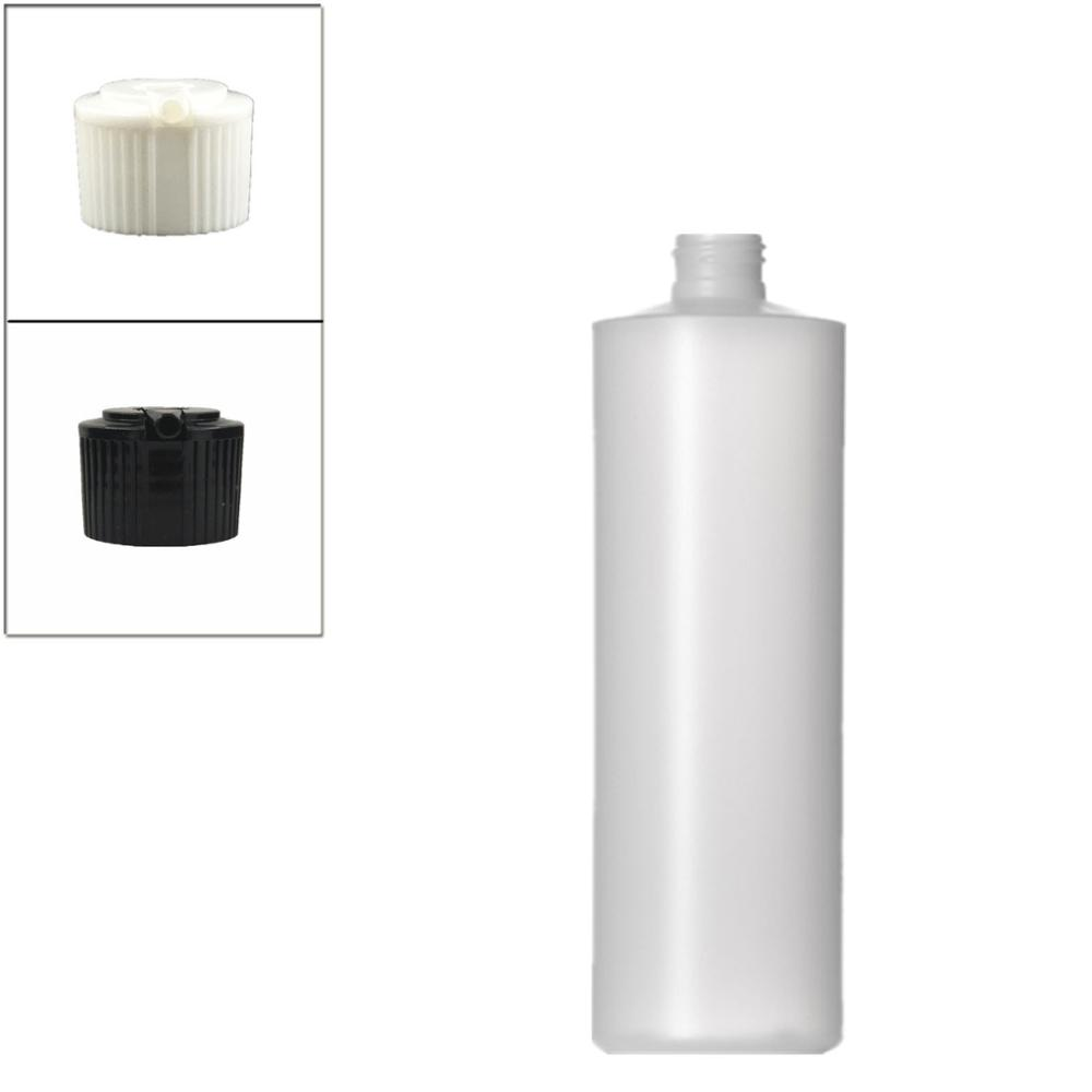 500ml Empty Plastic Soft  Bottle , HDPE Cylinder Round With Black/white Spouted Cap