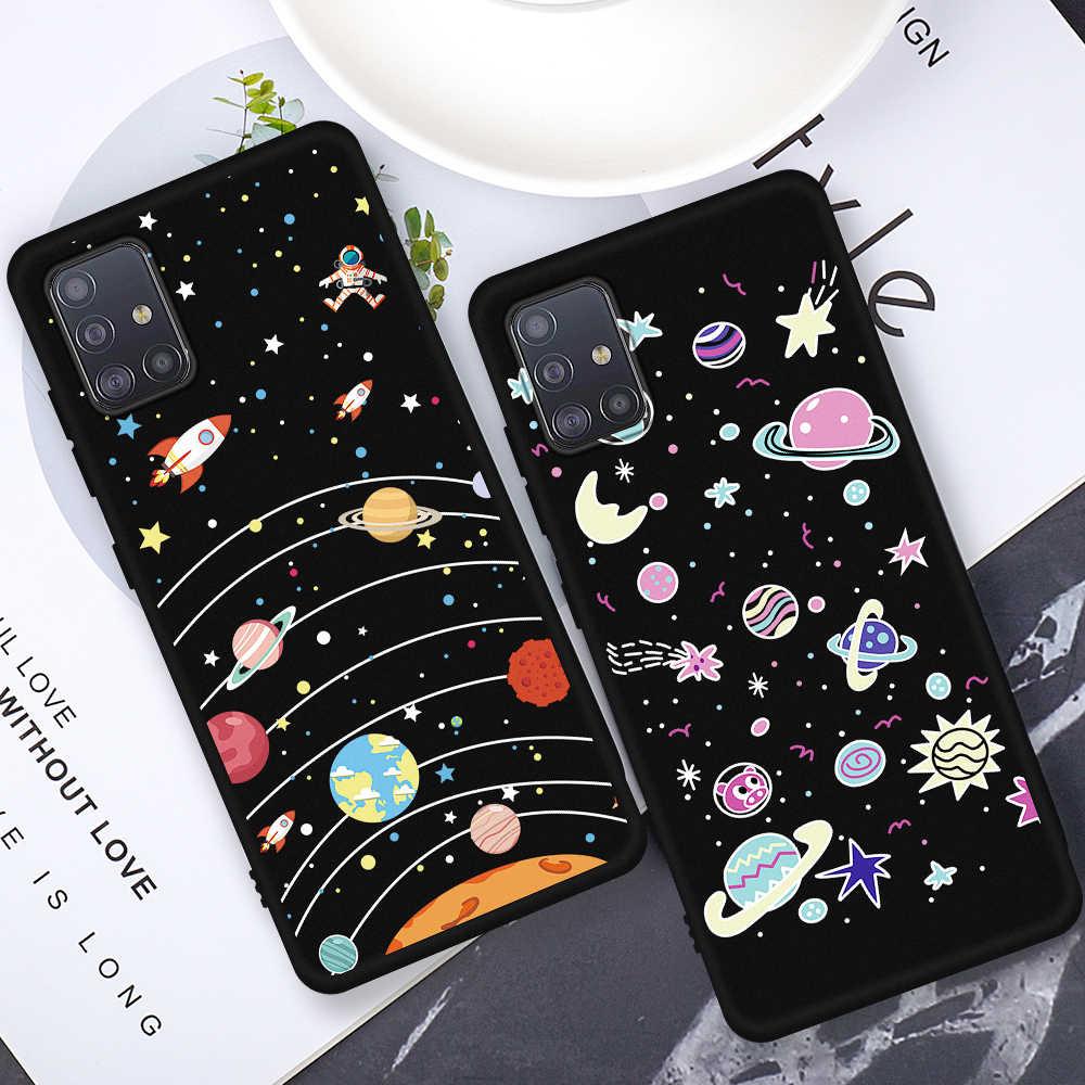 Hitam Painted Phone Case untuk Samsung A30 A50 A70 A30S A50S A10S A20S A10 A20 S A60 A40 Silicone Case 50S 30S Shockproof Funda
