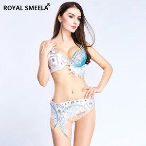 Image 5 - Novo 2020 mulheres traje de dança do ventre roupas de dança do ventre sutiã conjunto cinto sexy noite dança lantejoulas strass bling bra & belt