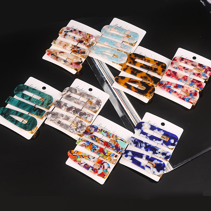 Haimeikang New 3PCS/Set Fashion Hairpins Barrettes Pearls Acetate Geometric Hair Clips For Women Girls Sweet Hair Accessories