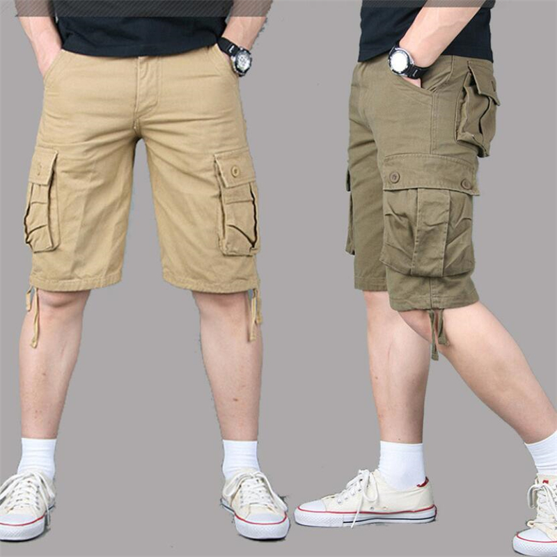 Summer Mens Cargo Shorts Cotton Army Military Loose Multi Pocket Casual Shorts Men Tactical Baggy Trousers Plus Size 51 52 55