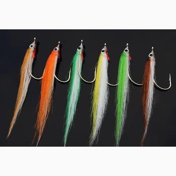 цена на Tigofly 12 pcs 1/0 4cm High Carbon Hook Polar Fry Salmon Trout Sea Bass Steelhead Minnow Fly Fishing Flies Lure Set
