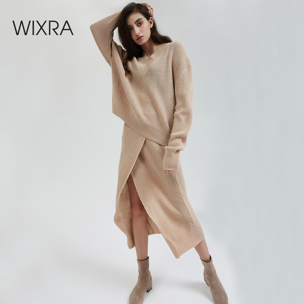 Wixra 2 Pieces Sweater Dress Set Women Long Sleeve Casual Solid Pullover V Neck Sweater+Mid-Calf Knit Skirt Suit Autumn Winter