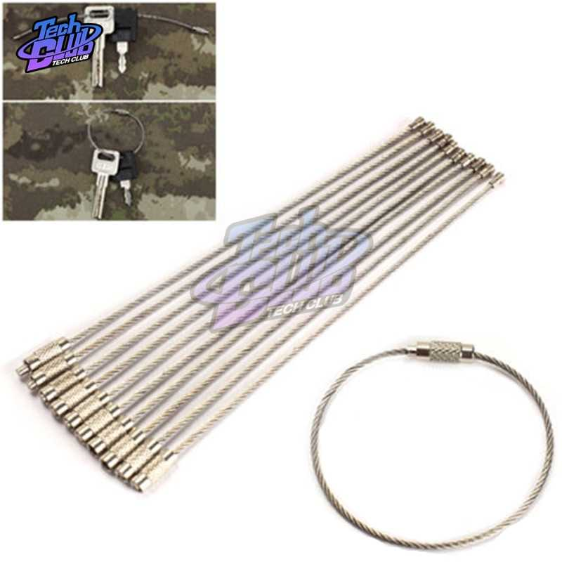 5PCs Stainless Steel Wire Rope Key Chain EDC High Quality Wire Key Chain Carabiner Cable Key Ring Outdoor Hiking Key Holder