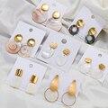 Женские серьги с жемчугом AENSOA, простые серьги-капли из натурального жемчуга, геометрический золотистый, эффектные ювелирные изделия