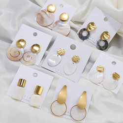 AENSOA Fashion Round Pearl Shell Earrings Simple Natural Drop Earrings For Women Geometric Gold Color Statement Earring Jewelry