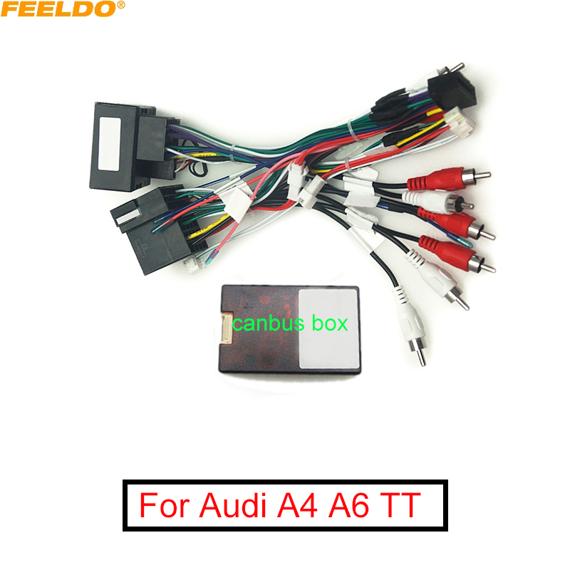 FEELDO Car Audio Radio CD Player 16PIN Android Power Calbe Adapter With Canbus Box For A4 04-06 A6 04 Wiring Harness