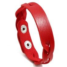 NIUYITID ручной работы Плетенный из искусственной кожи браслет женский красный браслет femme девушке Подвески Ювелирные изделия регулируемый размер Прямая